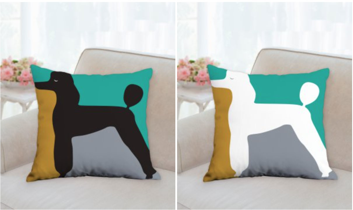 Designer poodle pillows
